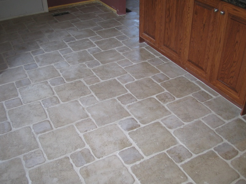 Natural Stone Tile Floor Kitchen